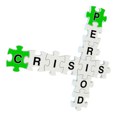 Crisis period 3d puzzle on white background