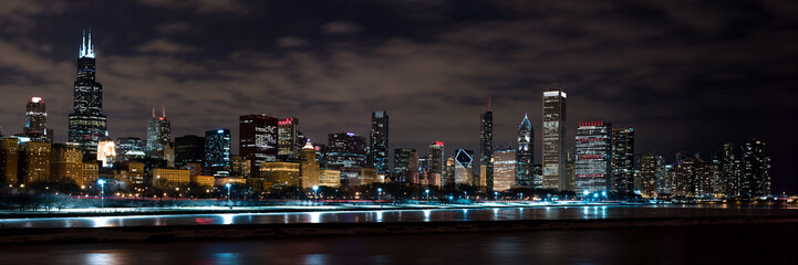 Foto op Aluminium Chicago Chicago Night Skyline