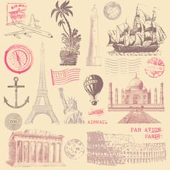 Vintage Travel Design Elements