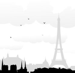Eiffel tower & Paris at Morning-Vector