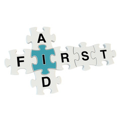 First aid 3d puzzle on white background