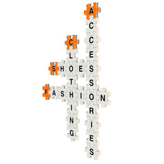 Fashion accessory 3d puzzle on white background