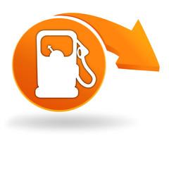 station essence sur bouton orange
