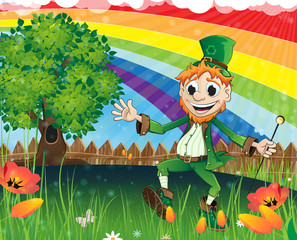Leprechaun on a spring meadow