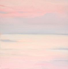 pink dawn on the sea, painting by oil on canvas