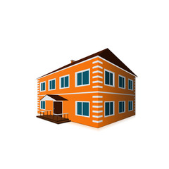 orange two-storey detached house in perspective