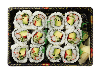 California rolls  sushi tray isolated on white background top vi