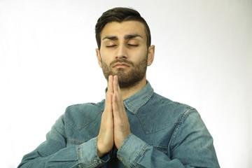 Praying man, a horizontal portrait