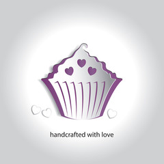 Vector Art Paper Icon Design Cupcake Bakery Shop