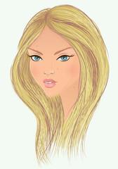 Beautiful blond girl's face