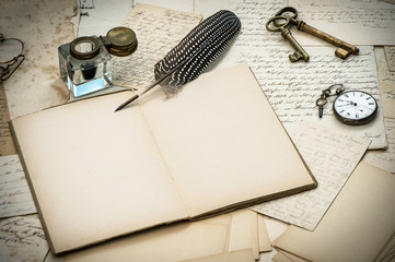 antique accessories, letters, inkwell and ink pen