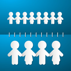 Paper People Holding Hands on Blue Notebook Background