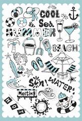 Hand drawn summer vacation set 01