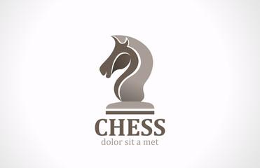Chess club Horse shape silhouette vector Logo design icon