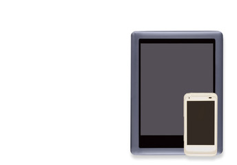 E reader tablet pc and cellphone.Isolated on white.