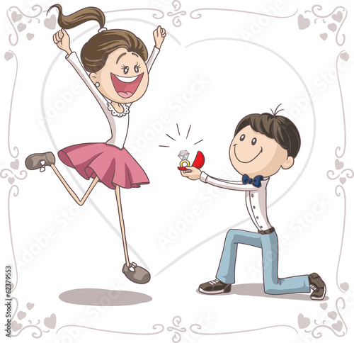 Marriage Proposal Vector Cartoon Stock Image And Royalty Free