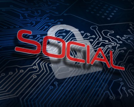 Social against white digital padlock over circuit board