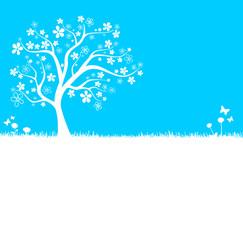 Baum Silhouette blau