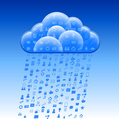 Cloud storage with the rain of the social symbols; Eps10