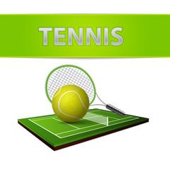 Wall Mural - Tennis ball and green grass field emblem