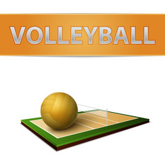 Wall Mural - Volleyball ball and field emblem
