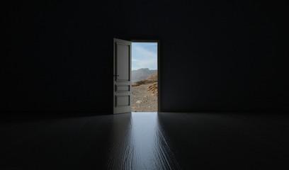 Offene Tür Richtung Wüstenlandschaft