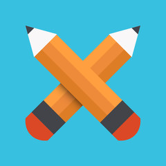 Vector flat pencil icon on blue background