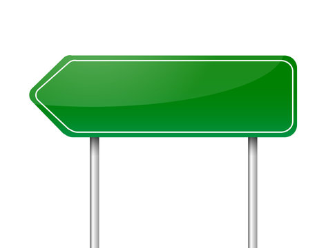 Blank green arrow road sign vector