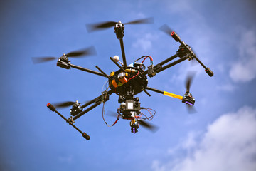 Helicopter drone filming video