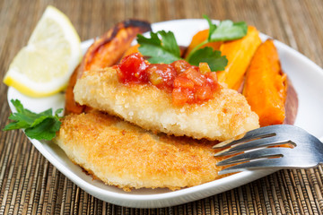 Fish and Chips with Salsa Sauce