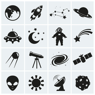 Space and astronomy icons. Vector set.