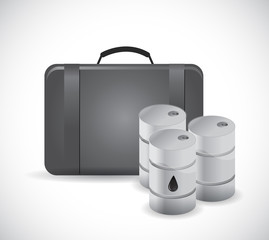 suitcase and oil barrels illustration