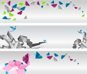 Origami  abstract banners. Paper butterflies and birds.