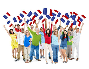 Multi-Ethnic and Diverse People Holding Flag of France