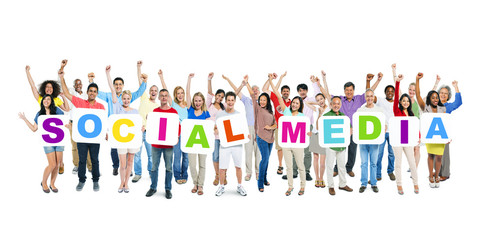 Wall Mural - Group of Diverse People Holding Word Social Media