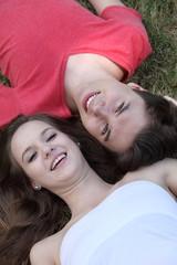 Happy teenage boy and girl