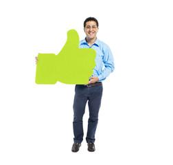 Man Holding Thumbs Up Symbol