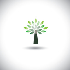 stylized vector tree icon with green leaves - eco concept vector