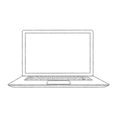 Hand-drawn outlined laptop vector illustration