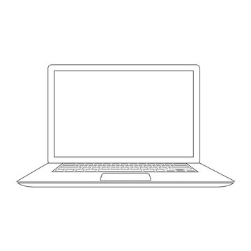 Outlined laptop vector illustration