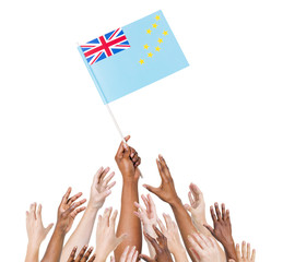 Diverse People Holding The Flag of Tuvalu