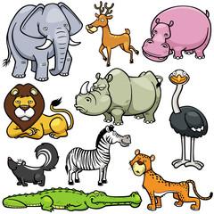 Vector illustration of Wild animals cartoons