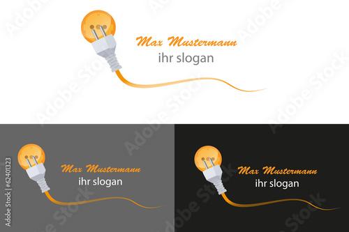 Elektro Elektriker Kabel Stecker Steckdose Logo\