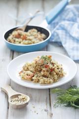 Quinoa and bulgur pilaf