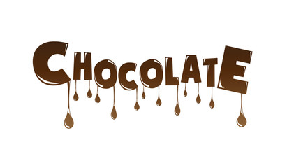 Chocolate text melting vector