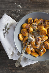 pumpkin dumplings italian gnocchi with thym and parmesan
