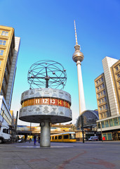 Poster Berlin Tv tower and world clock at Alexanderplatz, Berlin, Germany