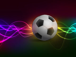 Football with light on colorful background