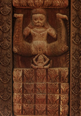 Tantric wood carvings showing birth