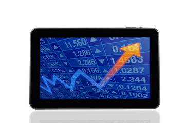 Stock Chart Diagram on Digital Tablet PC